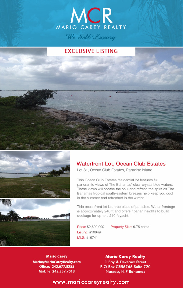 Water Front Lot, Ocean Club Estates, Paradise Island