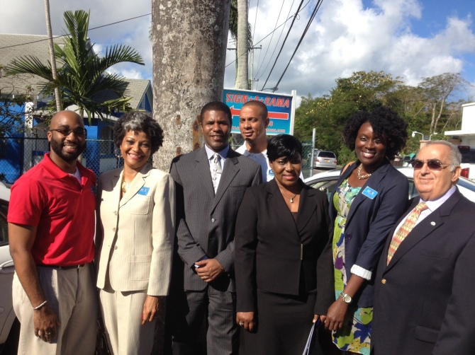 Jan 29th, 2013- Mario Carey Realty Attends the Opening of The Bahamas Real Estate Association (BREA) New Office on Shirley Street. Pictured (L to R): Prince Lewis (Personal Assistant to Mario Carey), Sharon Ferguson (Operations Manager), Franon Wilson (President of BREA), Sheldon Pitt (Estate Agent), Donna Jones (Secretary of BREA), Terrinique Pennerman (Marketing Manager), Michael Mosko (VP of BREA).