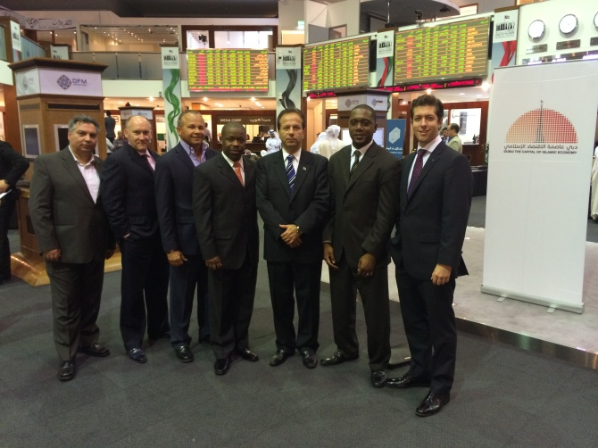 Pictured Visiting Dubai Stock Exchange (DFM)- (Left to Right): George Hamalian-Real Estate and Diamond Trader, Seamus Lagan- Entrepreneur, Mario Carey- President & CEO of Mario Carey Realty, Andrew Rolle- Sapphire Venture Fund Administrator, Tony Joudi- CEO of FTC Ltd, Keith Davis- CEO of BISX and Werner Gruner- Director at Andbank.