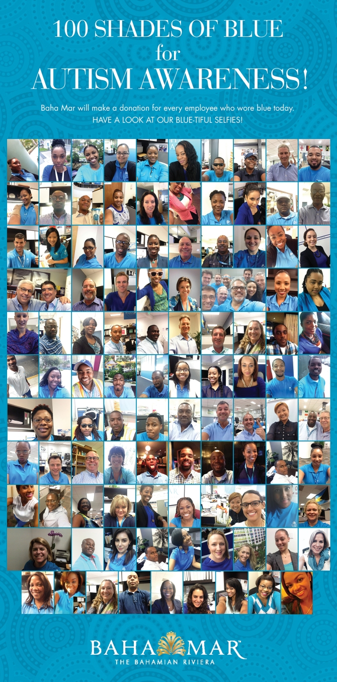 Bahamas Real Estate | Baha Mar Employees Wear Blue for World Autism Awareness Day