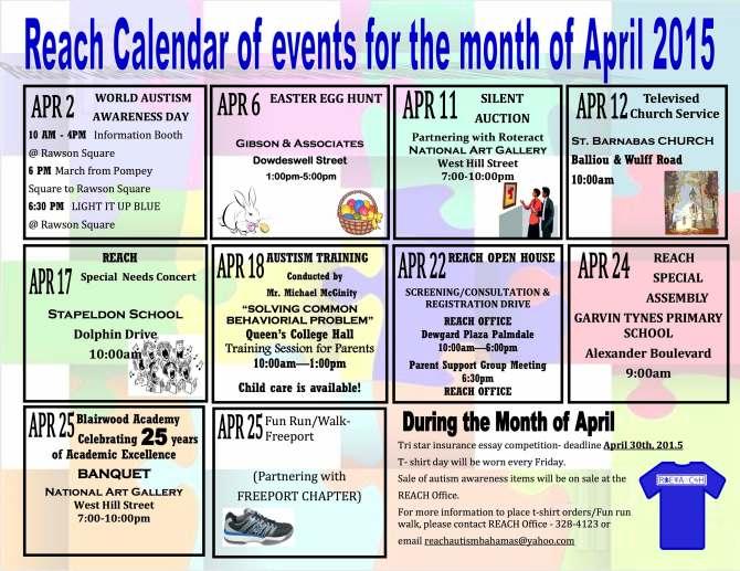Calendar of Events april 2